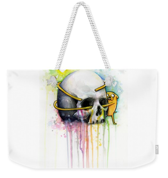 Adventure Time Jake Hugging Skull Watercolor Art Weekender Tote Bag