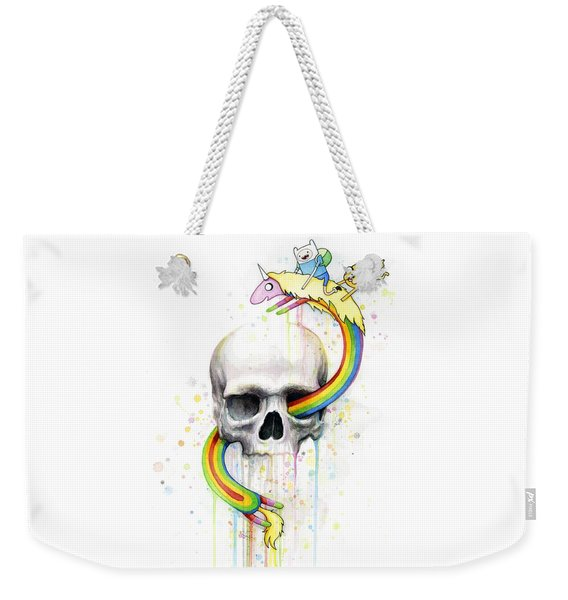 Adventure Time Skull Jake Finn Lady Rainicorn Watercolor Weekender Tote Bag