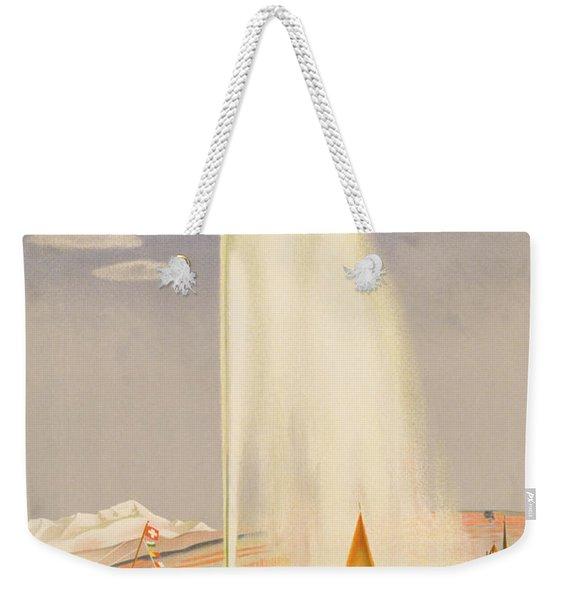 Advertisement For Travel To Geneva Weekender Tote Bag