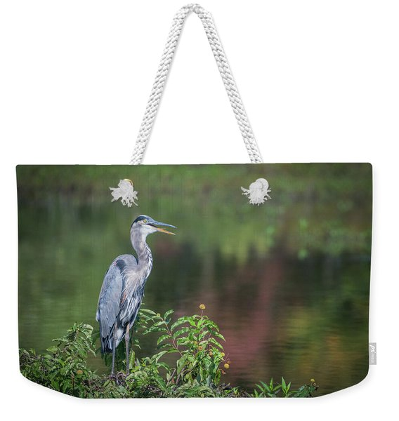 Advice From A Great Blue Heron Weekender Tote Bag
