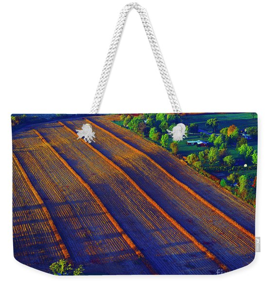 Aerial Farm Field Harvested At Sunset Weekender Tote Bag
