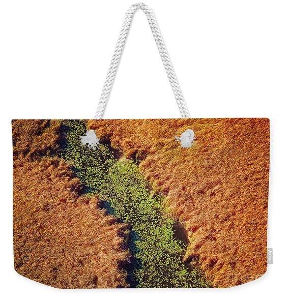 Aerial Farm Stream Lillies  Weekender Tote Bag