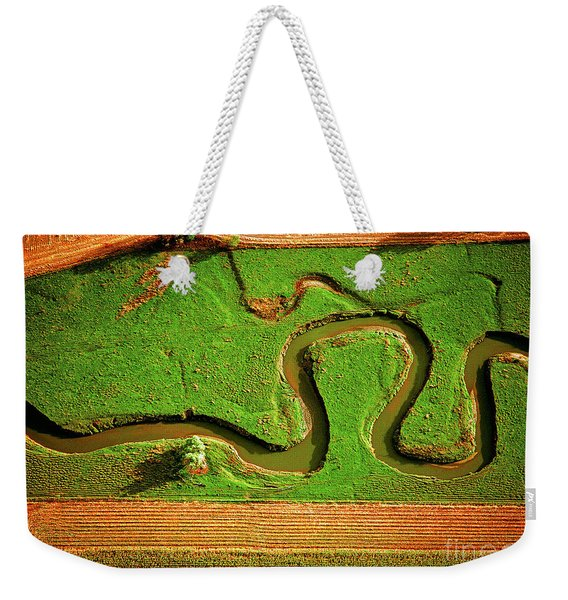 aerial, farm, stream, northern, Illinois, farms, meandering  Weekender Tote Bag