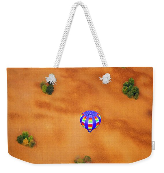 Aerial Of Hot Air Balloon Above Tilled Field Fall Weekender Tote Bag