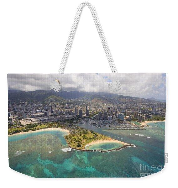 Aerial Of Magic Island Weekender Tote Bag