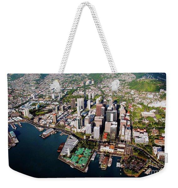 Aerial Panorama - Downtown - City Of Honolulu, Oahu, Hawaii  Weekender Tote Bag