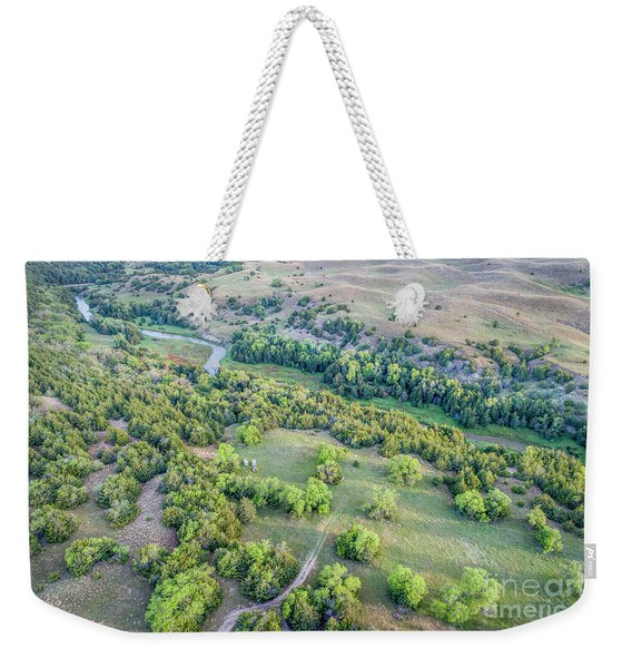 aerial view of Dismal River in Nebraska Sandhills Weekender Tote Bag