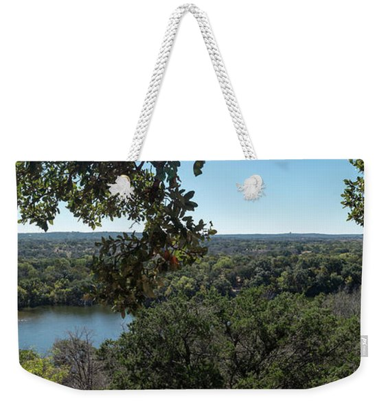 Aerial View Of Large Forest And Lake Weekender Tote Bag