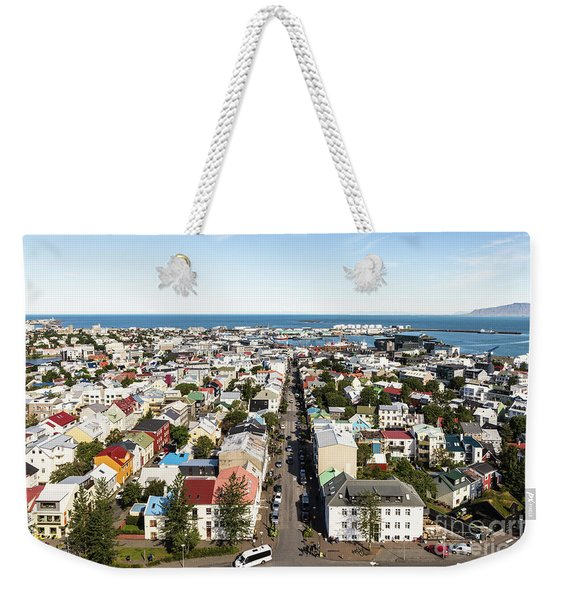Aerial View Of Reykjavik In Iceland Weekender Tote Bag