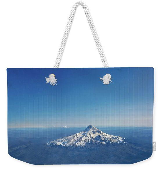 Aerial View Of Snowy Mountain Weekender Tote Bag