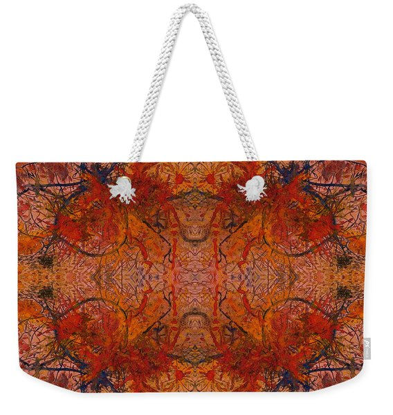 Aflame With Flower Quad Hotwaxed Version Of Acrylic/watercolour Weekender Tote Bag