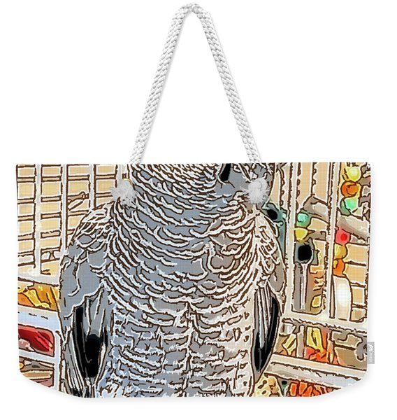 African Grey Parrot In Pencil Weekender Tote Bag