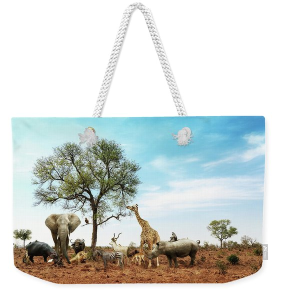 African Safari Animals Meeting Together Around Tree Weekender Tote Bag