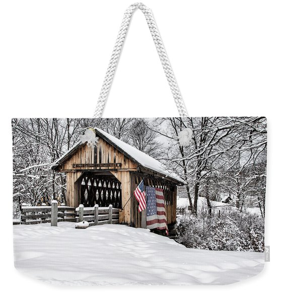 After A Winter Snow Storm Cilleyville Covered Bridge  Weekender Tote Bag