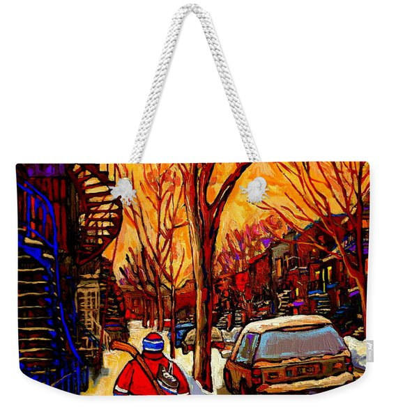After The Hockey Game A Winter Walk At Sundown Montreal City Scene Painting  By Carole Spandau Weekender Tote Bag