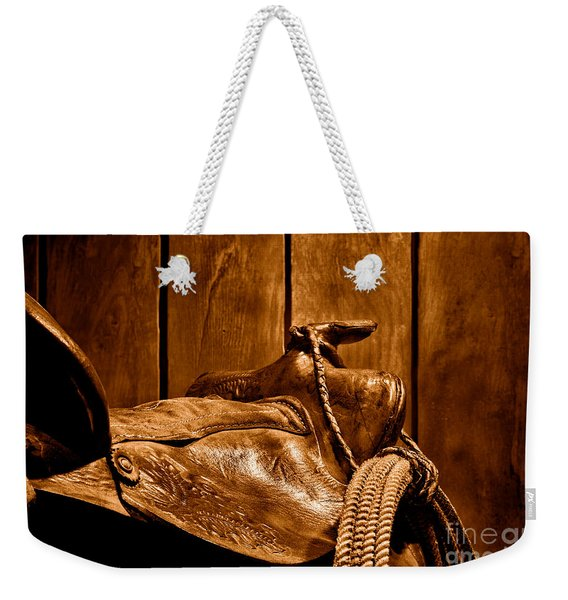 After The Round Up - Sepia Weekender Tote Bag