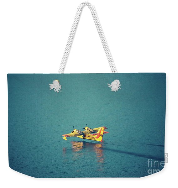 Aircraft Firefighter Take Water In The Sea Weekender Tote Bag