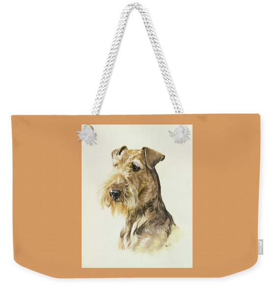 Weekender Tote Bag featuring the painting Airedale In Watercolor by Barbara Keith