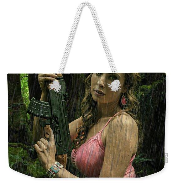 Ak47 In The Rain Weekender Tote Bag
