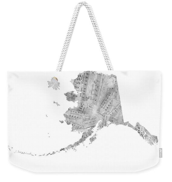 Alaska Map Music Notes  Weekender Tote Bag