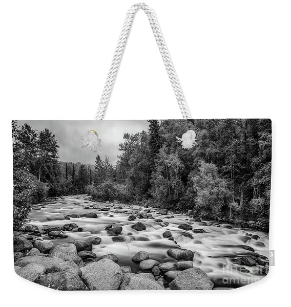 Alaskan Stream In Black And White Weekender Tote Bag