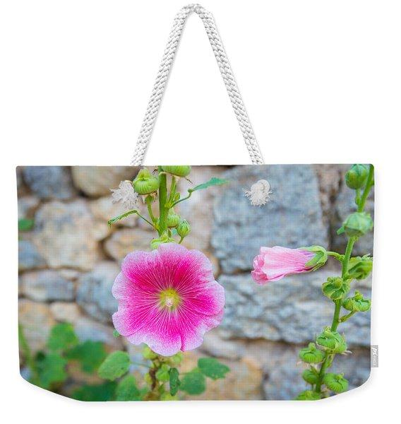 Alcea Rosea Is Known As Common Hollyhock Weekender Tote Bag