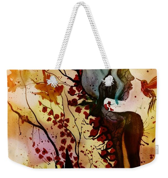 Weekender Tote Bag featuring the painting Alex In Wonderland by Denise Tomasura