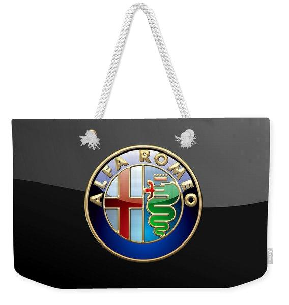 Alfa Romeo - 3 D Badge On Black Weekender Tote Bag