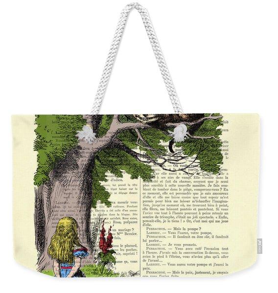 Alice In Wonderland And Cheshire Cat Weekender Tote Bag
