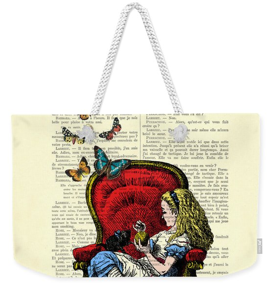 Alice In Wonderland Playing With Cute Cat And Butterflies Weekender Tote Bag