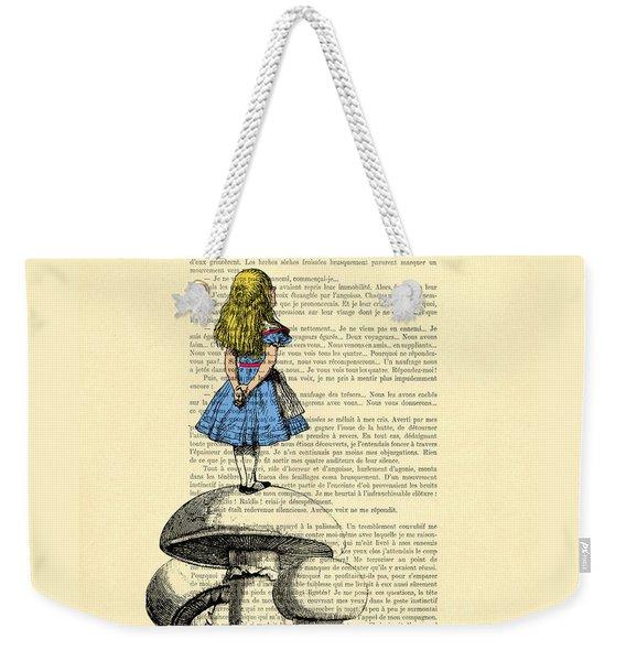 Alice In Wonderland Standing On Giant Mushroom Weekender Tote Bag