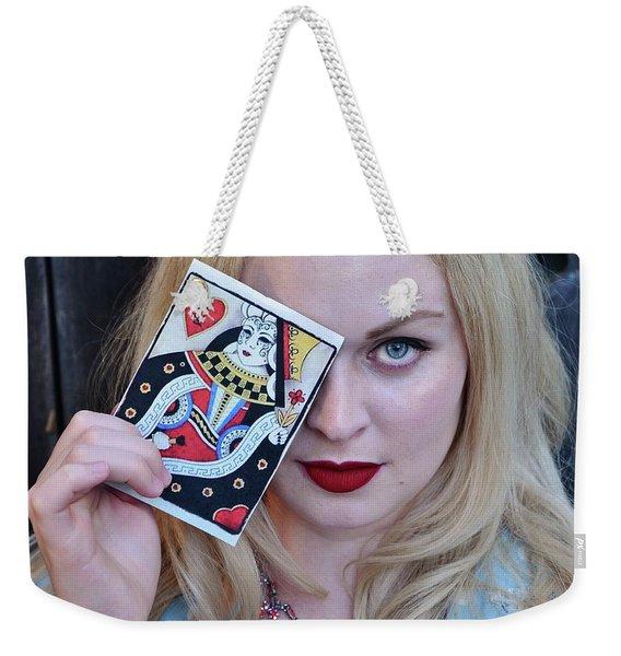 Alice Wins The Queen Of Hearts Weekender Tote Bag