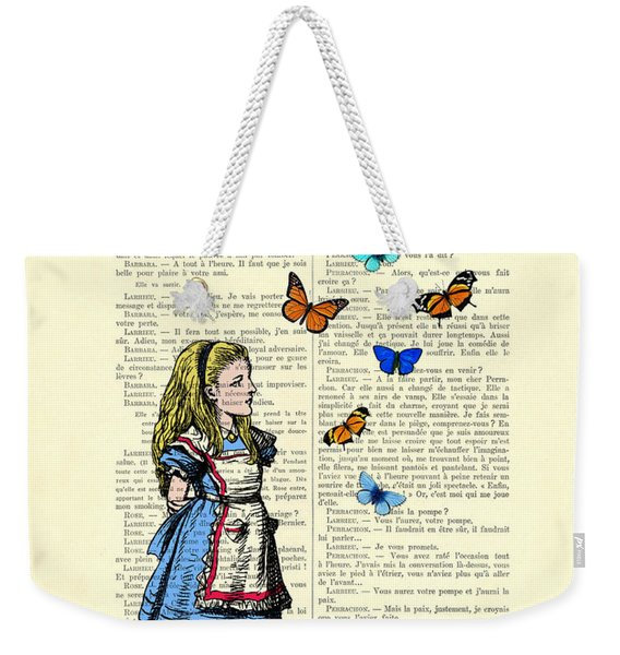 Alice With Blue And Orange Butterflies Weekender Tote Bag