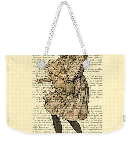 Alice In Wonderland With The Pig Weekender Tote Bag