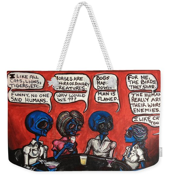 Alien Couples Discuss The Earths Creatures Over Drinks Weekender Tote Bag