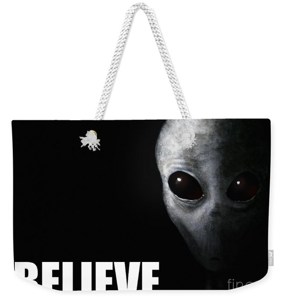 Alien Grey - Believe Weekender Tote Bag