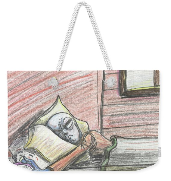 Alien Keeps Snoozin Weekender Tote Bag