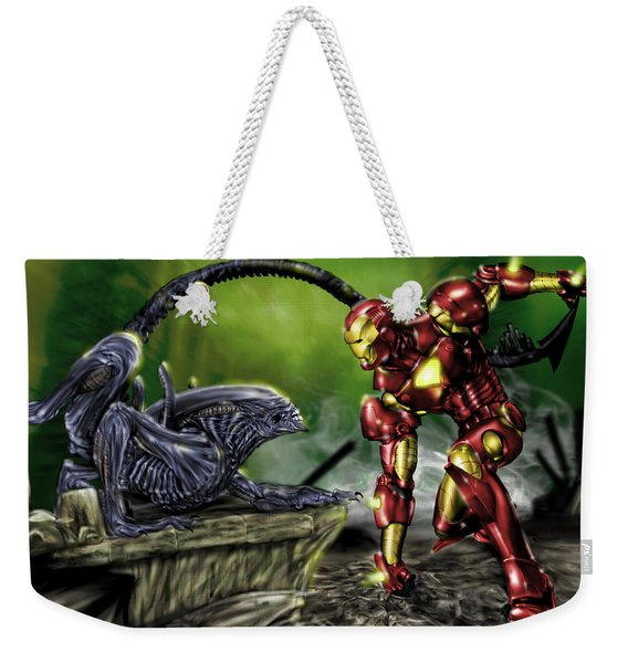 Alien Vs Iron Man Weekender Tote Bag