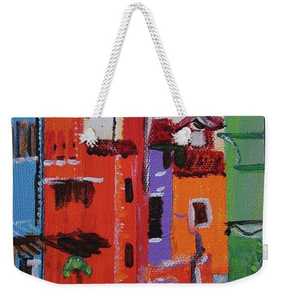 Weekender Tote Bag featuring the painting Alley Walk by Kim Nelson