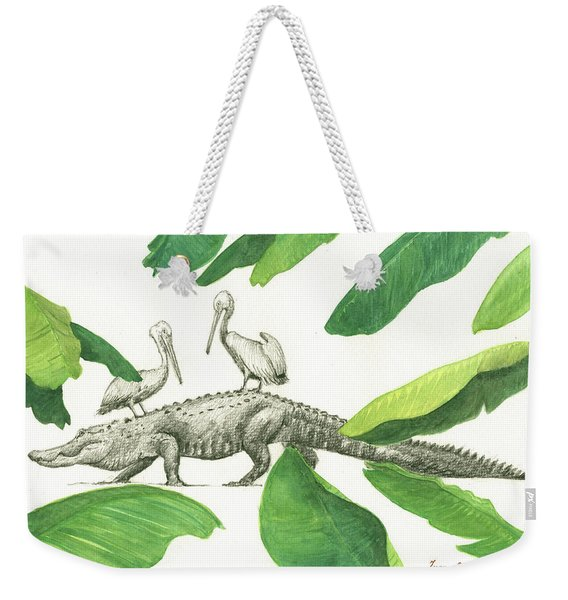 Alligator With Pelicans Weekender Tote Bag