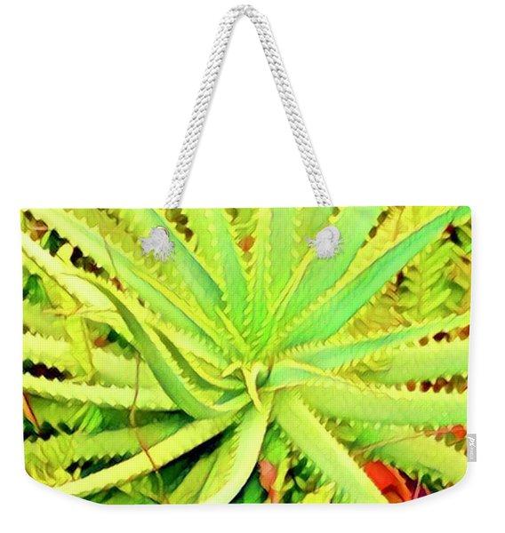 Aloha Aloe In Puna In Lime Weekender Tote Bag