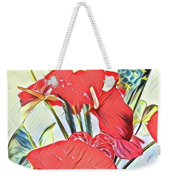 Aloha Bouquet Of The Day - Anthuriums And Green Ginger In Blue Weekender Tote Bag