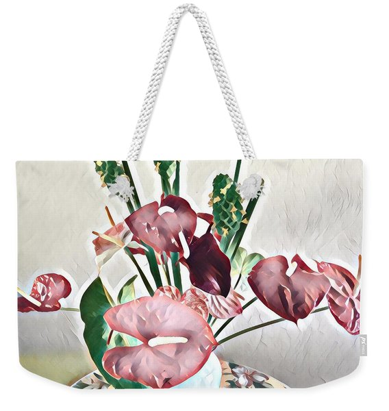 Aloha Bouquet Of The Day - Anthuriums And Green Ginger In Pale Weekender Tote Bag