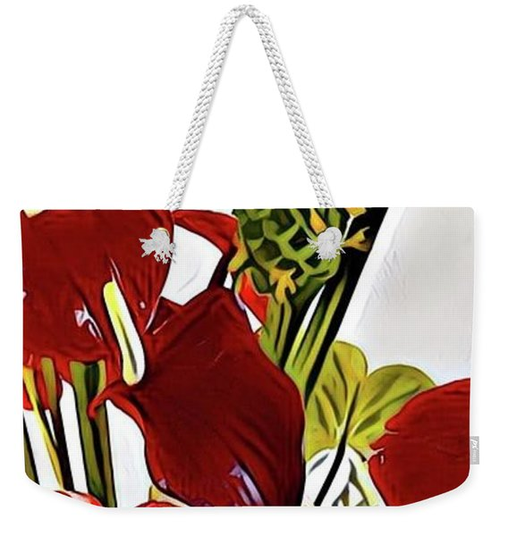 Aloha Bouquet Of The Day - Anthuriums In Darkl Red With Green Ginger - A Portion Weekender Tote Bag