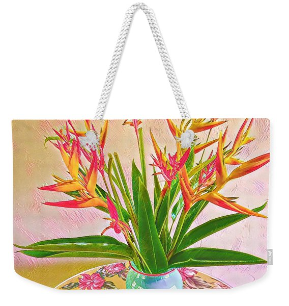 Aloha Bouquet Of The Day Halyconia And Birds In Pink Weekender Tote Bag
