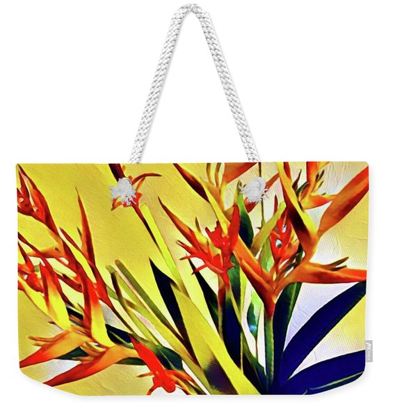 Aloha Bouquet Of The Day - Halyconia Birds In Orange Weekender Tote Bag
