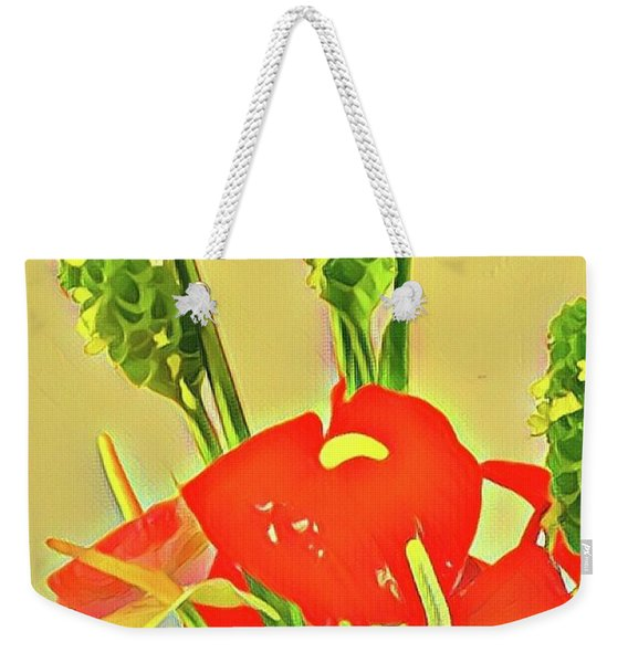 Aloha Bouquet Of The Day -- Red Anthuriums With Green Ginger, A Portion  Weekender Tote Bag