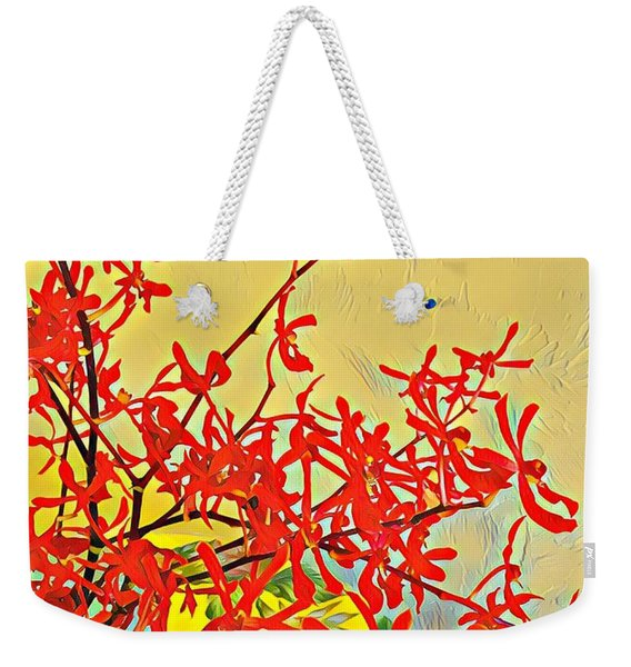 Aloha Bouquet Of The Day -- Red Orchids In Blue Vse Weekender Tote Bag