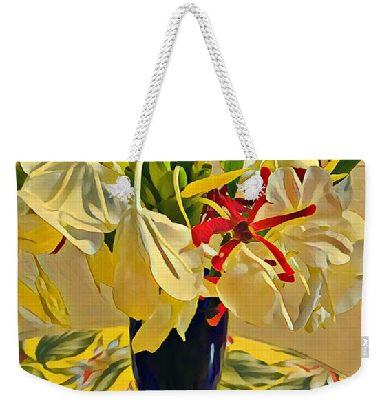 Aloha Bouquet Of The Day - White Gingert With Red Orchids - A New Hue Weekender Tote Bag