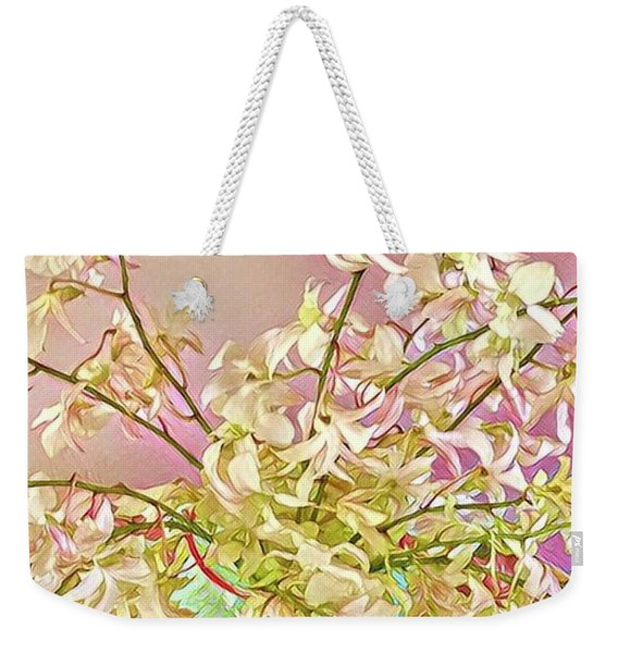 Aloha Bouquet Of The Day - White Orchids In Pink Weekender Tote Bag
